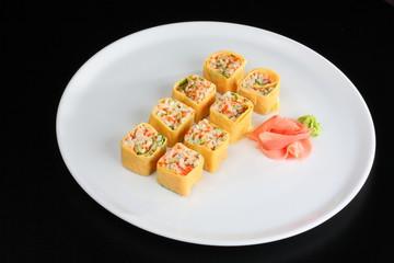 Japanese sushi set with egg in japanese style
