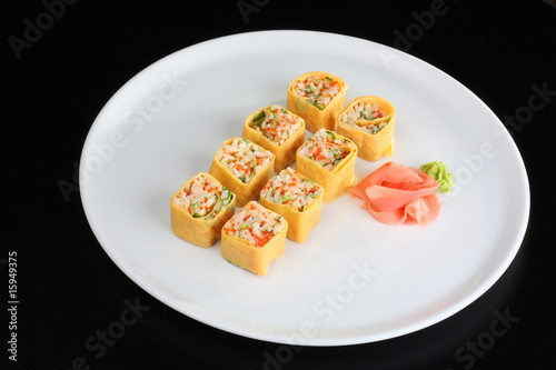 Japanese sushi set with egg in japanese style