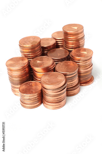 coins  on white background