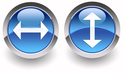 ''Two directions'' (right-left, up-down) arrows glossy icons