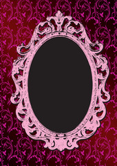 Grunge pink glamoure background with vintage frame