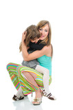 Mother and daughter, full length, isolated poster