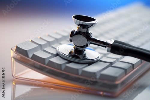 Stethoscope and keyboard