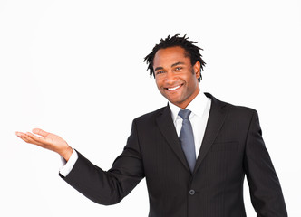 Smiling businessman offering his hand