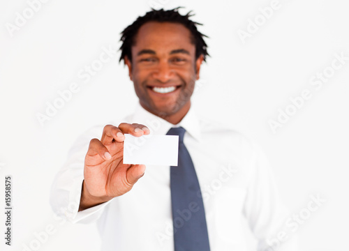 Afro-American businessman holding a business card
