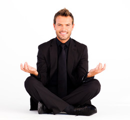 Friendly young businessman relaxing