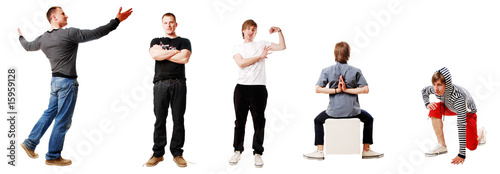 5 sportsmen isolated on a white background