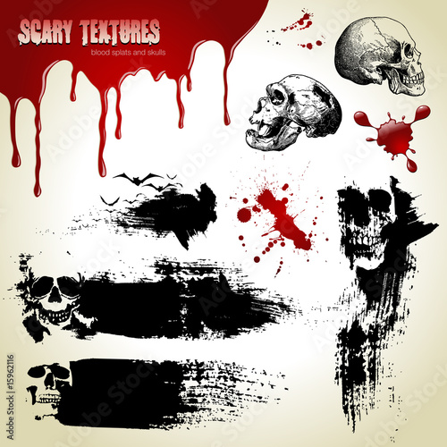 halloween set: scary textures, skulls and blood