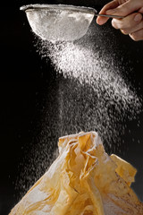 Sugar sift over pastry