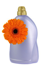 Orange Gerbera and Detergent Bottle