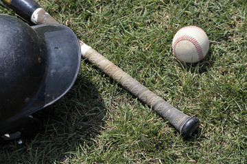 Baseball bat, ball and helmit