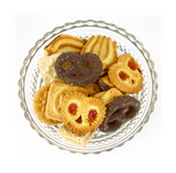 Overhead view bowl cookies poster