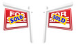 Pair of Red Sold For Sale Real Estate Signs