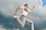 man runing in the sky poster