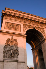 Arc de Triomphe at sunset.