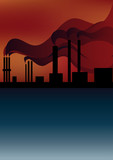 pipe smoke polluting the atmosphere, the environment poster