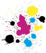 Quadro Abstract vector grungy colorful CMYK paint drops