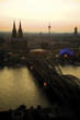 Germany, Cologne, Bridge and Cathedral