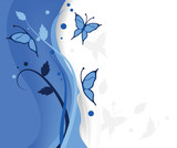 blue butterflies floral background