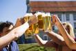 Deutschland, Bayern, Fröhliche Menschen prosten einander in Biergarten