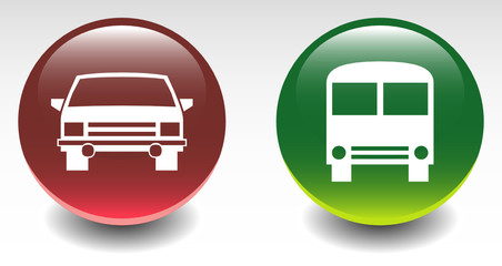 Glossy Car & Bus Sign Icons