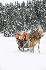 Italien, Südtirol, Seiseralm, Familie Reiten im Pferdeschlitten