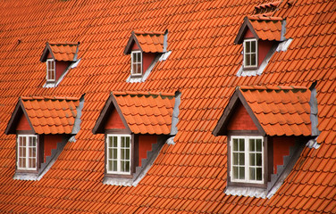 Red tile roof and garrets