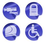 CCTV padlock wheelchair helmet cion symbols poster