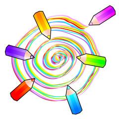 Spirale colorata con matite