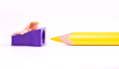Yellow pencil and sharpener