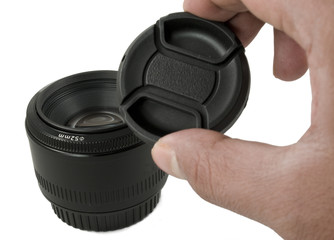Isolated Black Camera Lens and lens Cap