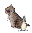 Katze, Blume, essen, Vase