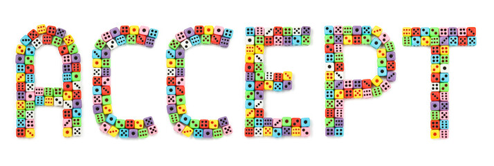 Accept sign, made of colorful dices