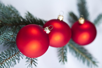 Red satin Christmas bauble