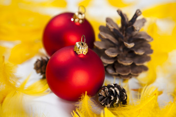 Red baubles as a symbol of Christmas