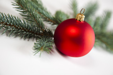 Red bauble as a symbol of Christmas