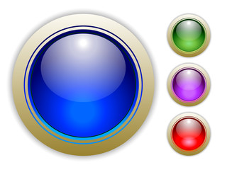 Blue, Green, Purple and Red Vector Button Illustrations.