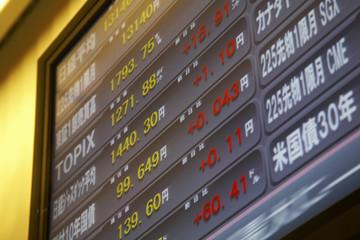金融関連の電光掲示板