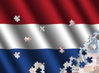 Dutch flag jigsaw over euros