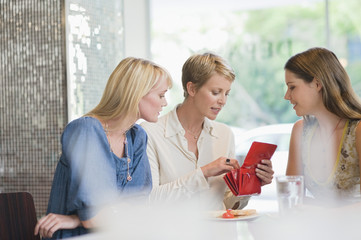 Woman sitting with her friends in a restaurant and looking into her wallet