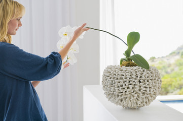 Woman looking at a houseplant
