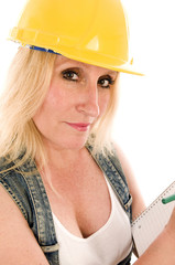 sexy contractor construction lady writing a contract estimate