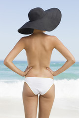 Rear view of a woman standing on the beach with her arms akimbo