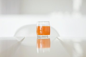 Close-up of a glass of tomato soup
