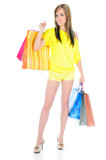 Pretty lady shopping, full length poster