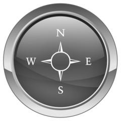 """Bouton """"Navigation - Boussole"""" (gris)"""