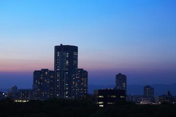 都会の夕景