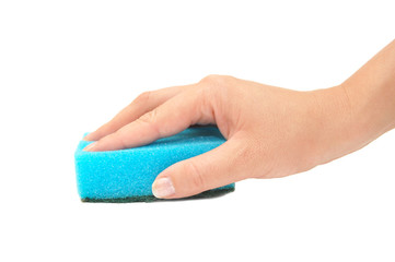 Hand and kitchen sponge isolated on white