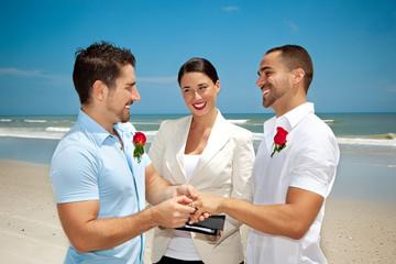 Two gay man in wedding