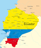 Ecuador country colored by national flag poster